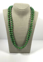 Long Vintage Necklace Green Wooden Beads Hippie Boho Artsy Costume Jewellery
