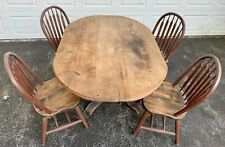 Vintage Distressed Rustic Barn Wood Hand Made Farm Kitchen Table + Bonus 4 Chair