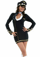 Ladies 4 Piece Sexy Air Hostess Pilot Costume Size 10 Dress Thong Scarf & Hat