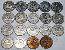Canada 1937-1952  5 Cents Complete 19 coin set Canadian Nickel Lot #L93