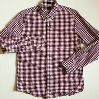 J.Crew Men's L Slim fit Navy Red White gingham Long Sleeve button Front Shirt
