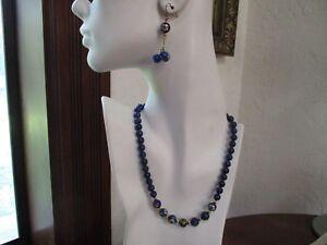 "Vtg Painted Lapis Lazuli Silver Beaded 17"" Necklace Cloisonne Earrings"
