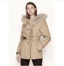 Maje Parka Belted at the Waist with Fur Hood Size 38 Retail $1095