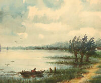 Mid 20th Century Watercolour - River View with Small Boat