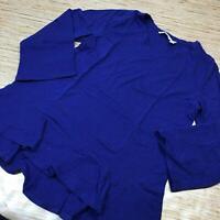B-283 Isaac Mizrahi Live! Bracelet-Sleeve V-Neck Knit Top Ruffle Hem INK BLUE M