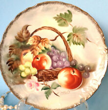 "Norleans Stunning Hand Painted Artist Signed Fruit Basket 8 1/4"" Cake Plate"