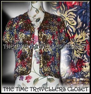 Kate Moss Topshop Embellished Silk Red Yellow Blue Floral Jacket Bolero UK 6 8