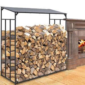Wood Store Heavy Duty Metal Log Store fireplace Garden Wooden Firewood Storage