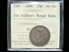 1886 - Short Bough Ends - Obverse 4 - 25 Cent - ICCS Graded VG-10