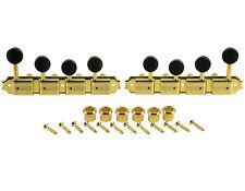 Kluson Supreme F Type Gold Mandolin tuners, 18:1 Ratio, Black Buttons