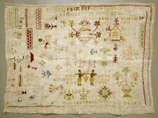 17Th C. Antique Dutch Needlework Sampler North Holland Cross Stitch Marken Hoorn