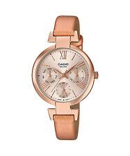 Casio LTP-E404PL-9A1 Original New Rose Gold Leather Ladies Watch 50m WR LTP-E404