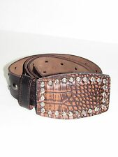 RG512 AUTH Brown Leather Men's Belt Metal Studs