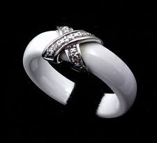 Magnifico Anello Ceramica Bianca e Oro - Diamanti 0.05 Carati