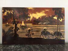 Ancien panneau laqué sur bois paysage Indochine signé