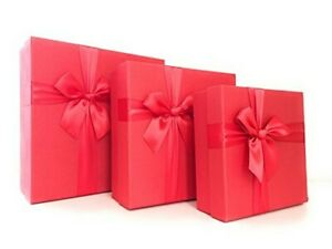Cypress Lane Square Gift Boxes with Ribbon, 11 inches, a Nested Set of 3 (Red)
