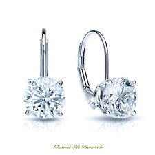 4 Ct Round Cut Solitaire Stud Earrings in Solid 14k Real White Gold Leverback