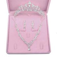 Crystal Princess Tiara Necklace Earrings Wedding Jewlry Set