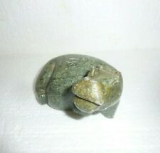 Vintage African Stone Laying Down Hippo Hand Carved Statue