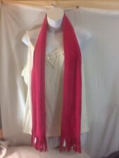 "Cute Woman's Dark Pink with Fringe Warm Winter Scarf pre-owned 6 3/4"" w x 64"" L"