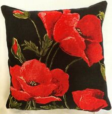 35CM BELGIAN TAPESTRY CUSHION COVER, POPPIES WITH BLACK BACKGROUND, 10218/47