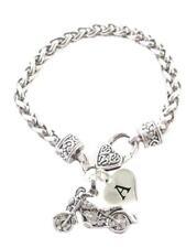 Custom Motorcycle Biker Chopper Silver Chain Bracelet Choose Initial Charm