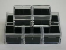 "6pcs Acrylic Square Gem Jars Box Gemstones Black Foam 1"" x 1"" Storage Display"