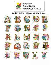 30 Return Address Labels Alphabet Monogram Floral Buy 3 get 1 free (Fl9)