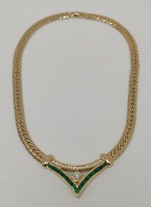 Vtg Christian Dior CD Designer Emerald & Diamanté Gold Tone Curb Chain Necklace
