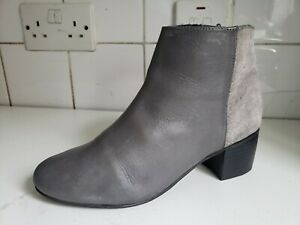 TOPSHOP UK 5 EU 38 WOMENS GREY SUEDE LEATHER FLAT/LOW HEELS ANKLE BOOTS SHOES
