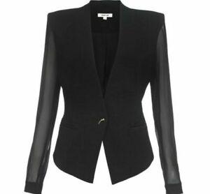 Helmut Lang Black Wool Blend Sheer Sleeve Silk Lined Blazer Jacket Size 6
