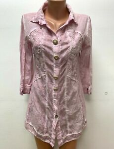 BOTTEGA - ELISA CAVALETTI size S / M Long Blouse Top Tunic Pink Lace Embroidered