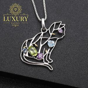 Natural Multi Gemstones 925 Sterling Silver Handmade Cute Cat Pendant Necklace