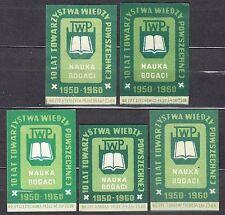 POLAND 1960 Matchbox Label - Cat.Z#178 TWP 1950-1960, 10th of Un. Kn. Society.