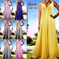 NEW Angela Plain Evening/Cocktail Long Women Maxi Dress Size Plus 6-18 M-XXXL US