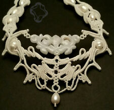 Carved Jade and mother of pearl necklace, handmade micro-Macrame by Love Knots