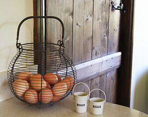 Round Egg Basket Traditional French Country Style Grey Wire Metal Storage Rack