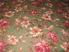 Autumn Floral Green 7.5 oz Belgium Linen Fabric NEW