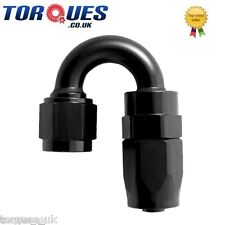 AN -6  180 Degree Fast Flow Stealth Black Hose Fitting