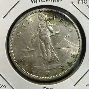 1908-S PHILIPPINES SILVER ONE PESO CROWN NEAR UNCIRCULATED