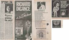 RICHARD DIGANCE : CUTTINGS COLLECTION -adverts interview-