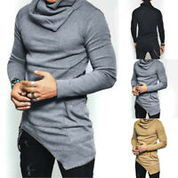 Fashion Men Slim Fit Irregular Long Sleeve Muscle Tee Shirts T-shirt Tops Blouse