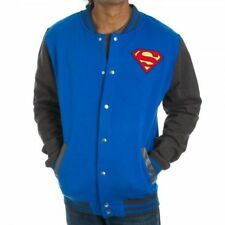 Mens NWT DC Comics Superhero Superman Shield Letterman Jacket Snap Size M XL 2XL