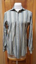 ETRO Milano Mens Green Striped Button-Front Dress Shirt Cotton Italy Size 40