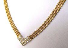 Élégant collier ancien bijou vintage maille plate couleur or cristal diamant 216