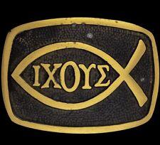 Vtg NOS 70s Ichthus Jesus Fish IXOYE Christian Symbol Icthus Brass Belt Buckle