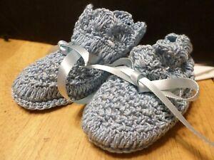 Handmade Blue Baby Booties - Crochet