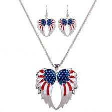 Fashion Women US Flag Angle Wing Necklace Earrings Patriotic Jewelry Set