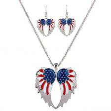Red White Blue U.S. American Flag Necklace Earrings Set Silver Angel Wings Chain