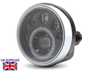 "LED Motorcycle 7"" Headlight 12V Retro Cafe Racer Streetfighter Project BLEMISHED"